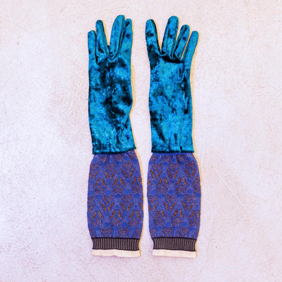guante terciopelo largo con elástico algodón